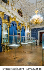 SAINT-PETERSBURG, RUSSIA - DECEMBER 3, 2018: Interior of the Faberge Museum in Shuvalov Palace.