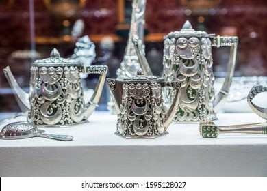 SAINT-PETERSBURG, RUSSIA - DECEMBER 3, 2018: Tea set of silver vintage tableware. Exgibition of the Faberge Museum in Shuvalov Palace.