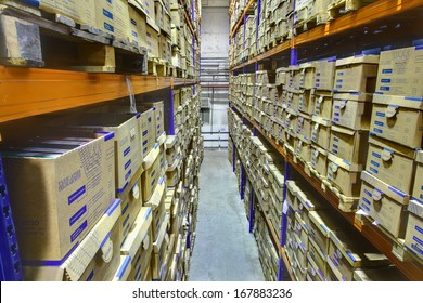 SAINT-PETERSBURG, RUSSIA - DECEMBER 3: Interior warehouse storage of archival documents, shelf racks with boxes, December 3, 2013.