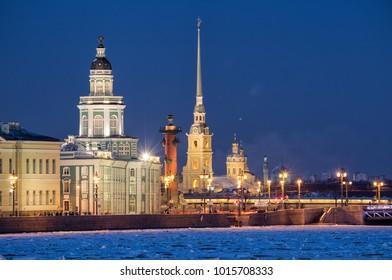 Saint-Petersburg, Russia. Evening view of illuminated sights - Kunstkamera, Rostral column, Peter and Paul Fortress