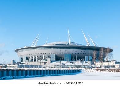 SAINT-PETERSBURG, RUSSIA, FEBRUARY 27, 2017: A new stadium on the Krestovsky island, known as the the Saint Petersburg Arena, aka the Zenith Arena, aka the The Krestovsky Stadium