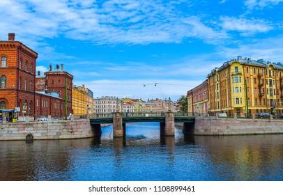 SAINT-PETERSBURG, RUSSIA - Fontanka river embankment panoramic russia landscape in Saint-Petersburg, Russia