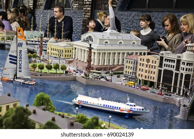 Saint-Petersburg, Russia - January 03th 2015: Museum Grand Maket Rossiya - View of the mock-up of the museum of the navy in St. Petersburg. Gullivers and Lilliputians.