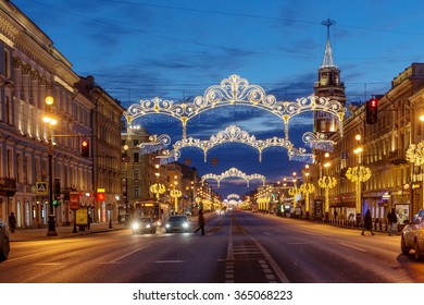 SAINT-PETERSBURG, RUSSIA - JANUARY 10, 2016: Nevsky Prospect with City Duma building illuminated for Christmas