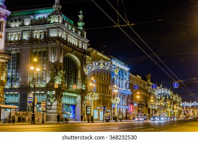 SAINT-PETERSBURG, RUSSIA - JANUARY 10, 2016: Night view of Eliseevsky store and Akimov Comedy Theater buildings on Nevsky Prospekt illuminated for Christmas