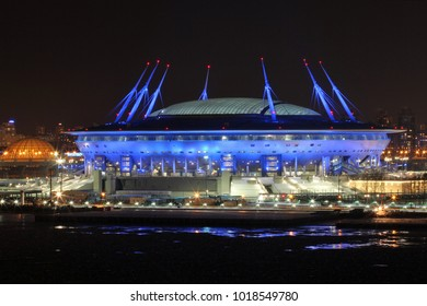 """SAINT-PETERSBURG, RUSSIA - January 16, 2018; Football stadium """"Zenit Arena"""", where there will be a Cup of Confederations 2017 and the World Cup 2018 illumination."""