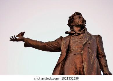 SAINT-PETERSBURG, RUSSIA - JANUARY 16, 2018: Monument to Aleksander Pushkin on the Square of Arts. Sculptor M. K. Anikushin, architect V.A. Petrov. Popular landmark.