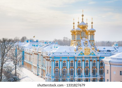 SAINT-PETERSBURG, RUSSIA - JANUARY 19, 2019: Saint Petersburg famous rich royal historical building Winter Catherine palace architecture with blue sky