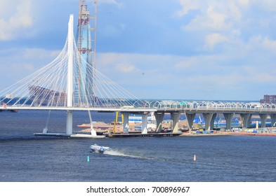 Saint-Petersburg, Russia - January 23, 2017:View of the cable-stayed bridge and Gazprom skyscraper tower under construction.