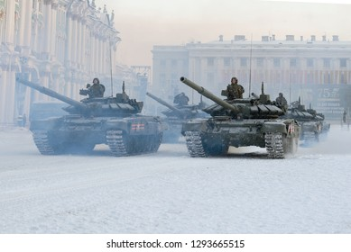 SAINT-PETERSBURG, RUSSIA - JANUARY 24, 2019: Сolumn of T-72B3 tanks on Palace Square. Dress rehearsal for the military parade in honor of the Day of the  lifting of the blockade of Leningrad.