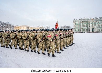 SAINT-PETERSBURG, RUSSIA - JANUARY 24, 2019: Group of Russian Army soldiers at Military parade in honor of the complete breakthrough the blockade of Leningrad during World War on Palace Square.