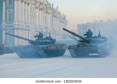 SAINT-PETERSBURG, RUSSIA - JANUARY 24, 2019: Two Russian tanks at the final rehearsal of the military parade in honor of the Day of the lifting of the blockade of Leningrad