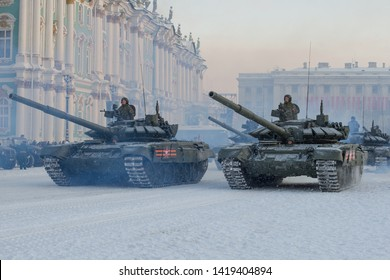 SAINT-PETERSBURG, RUSSIA - JANUARY 24, 2019: A column of T-72B3 tanks at the Winter Palace. Fragment of a rehearsal of a military parade in honor of the Day of the lifting of the blockade of Leningrad