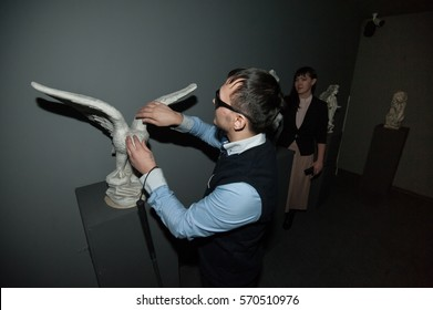 """Saint-Petersburg, Russia - January 25, 2017: A new tactile museum """"World of touch"""" for the blind and visually impaired, as well as those who want to visit the world of the blind people"""