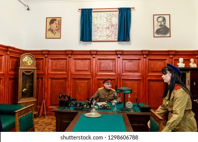SAINT-PETERSBURG, RUSSIA - JANUARY 27, 2019: Interior of the cabinet of the people's commissar of internal affairs of the times of the Great Patriotic War. Exhibition pavilion Lenrezerv.