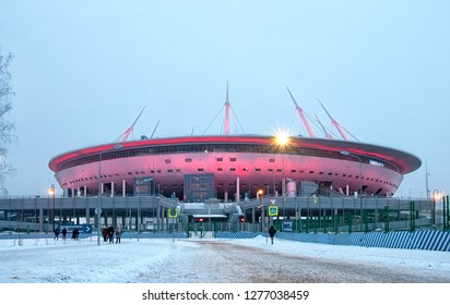 SAINT-PETERSBURG, RUSSIA – JANUARY 4, 2019: Krestovsky Stadium (Gazprom Arena) with night illumination.