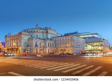 Saint-Petersburg, RUSSIA - Jul 17 2018, Evening view on Mariinsky theatre, Saint-Petersburg, Russia
