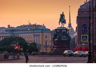 Saint-Petersburg, RUSSIA - Jul 17 2018, Evening view on monument Nicholas I (Nikolay first), Saint Isaac's Square, Saint-Petersburg, Russia