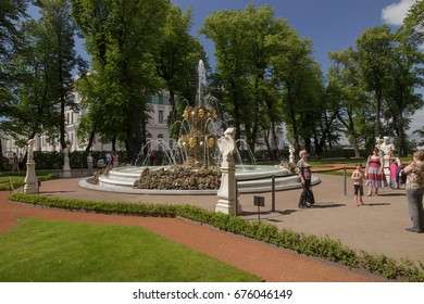 SAINT-PETERSBURG, RUSSIA, July 09, 2017. View of a fountain in the Summer Garden former imperial tsarist garden.