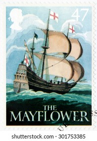 SAINT-PETERSBURG, RUSSIA - JULY 14, 2015: A stamp printed by GREAT BRITAIN shows image of The Mayflower ship - one of the ancient British Pub Signs, circa August, 2003.