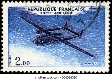 SAINT-PETERSBURG, RUSSIA - JULY 14, 2015: A stamp printed by FRANCE shows French military transport aircraft Nord Noratlas, circa January, 1960.