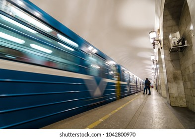 SAINT-PETERSBURG, RUSSIA - JULY 15, 2017: Passenger platform at a Institute of technology subway station at St. Petersburg