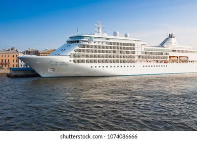 "SAINT-PETERSBURG, RUSSIA - JULY 16, 2016: Tourist ship ""Silver Whisper"" on Neva river"
