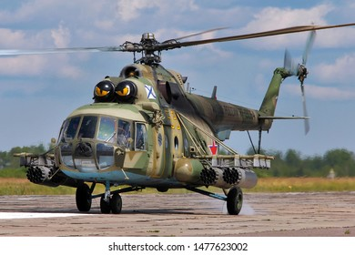 SAINT-PETERSBURG, RUSSIA, JULY 16, 2019: Russia air force multirole helicopter Mil Mi-8.