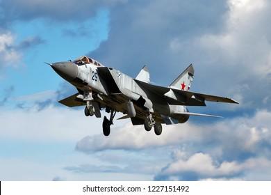 SAINT-PETERSBURG, RUSSIA, JULY 18, 2017: Russia air force supersonic interceptor MiG 31 in flight.