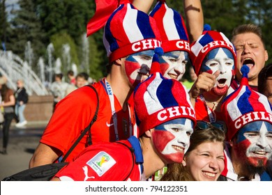 Saint-Petersburg, Russia. July 2, 2017: Fans of the Chile national football team before the final game of the Confederations Cup.