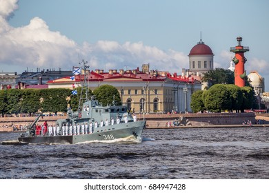 SAINT-PETERSBURG, RUSSIA - JULY 23, 2017: Harbor minesweeper RT-248 on rehearsal of the naval parade on the day of the Russian Fleet in St. Petersburg