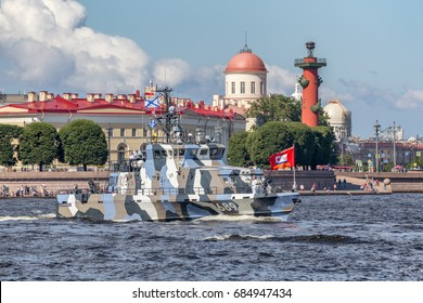 SAINT-PETERSBURG, RUSSIA - JULY 23, 2017: Counter-terror boat Grachonok on rehearsal of the naval parade on the day of the Russian Fleet in St. Petersburg