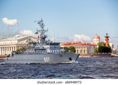 SAINT-PETERSBURG, RUSSIA - JULY 23, 2017: Minesweeper Alexander Obukhov on rehearsal of the naval parade on the day of the Russian Fleet in St. Petersburg