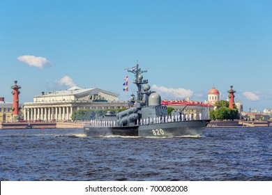 SAINT-PETERSBURG, RUSSIA - JULY 23, 2017: Missile boat Chuvashia on rehearsal of the naval parade on the day of the Russian Fleet in St. Petersburg