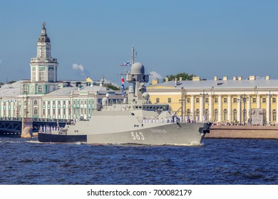 SAINT-PETERSBURG, RUSSIA - JULY 23, 2017: Small missile ship Serpukhov on rehearsal of the naval parade on the day of the Russian Fleet in St. Petersburg