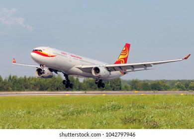 SAINT-PETERSBURG, RUSSIA - JULY 25, 2014 - Hainan Airlines Airbus 330 in Pulkovo International Airport