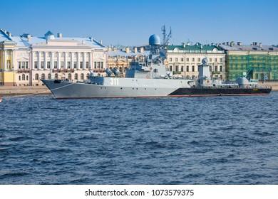 "SAINT-PETERSBURG, RUSSIA - JULY 26, 2016: New anti-submarine corvette ""Kazanets"" of the Russian Navy"