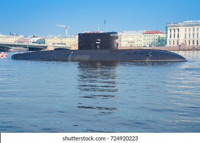 "SAINT-PETERSBURG, RUSSIA - JULY 26, 2016: Russian submarine ""Krasnodar"" (class Improved Kilo) with missile system Kalibr"