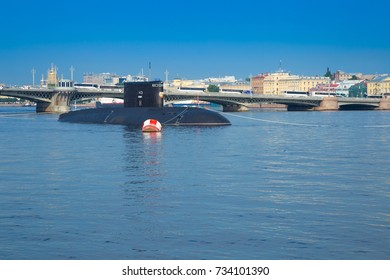 "SAINT-PETERSBURG, RUSSIA - JULY 26, 2016: Russian navy submarine ""Krasnodar"" (class Improved Kilo) with missile system Kalibr"