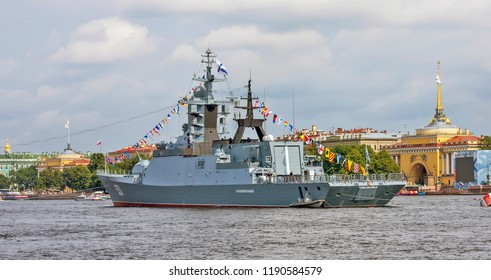 "SAINT-PETERSBURG, RUSSIA - JULY 26, 2018: Photo of Military ships on the parade on the day of the Navy. ""Mediocre"" - the ship of the near marine multipurpose watchdog zone (corvette) of project 20380"