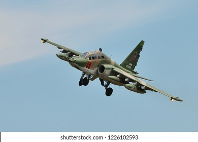 SAINT-PETERSBURG, RUSSIA, JULY 26, 2018: Russia air force attack bomber Sukhoi Su 25 in flight.