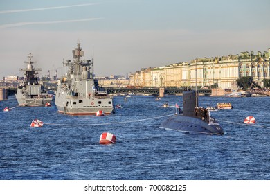 SAINT-PETERSBURG, RUSSIA - JULY 27, 2017: Admiral Makarov frigate, Stoykiy corvette and diesel-electric submarine Dmitrov before the naval parade on the day of the Russian Fleet in St. Petersburg