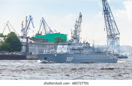 Saint-Petersburg, Russia - July 28, 2017: Warship goes on the Neva River. Rehearsal for the parade of Russian naval forces. Aleksandrit-class minesweeper, Project 12700