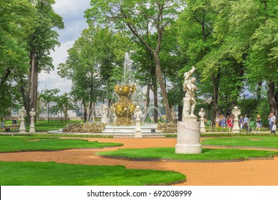 SAINT-PETERSBURG, RUSSIA - JULY 28, 2017: The Grand parterre in the Summer Garden in St. Petersburg with Crowning Fountain in the centre