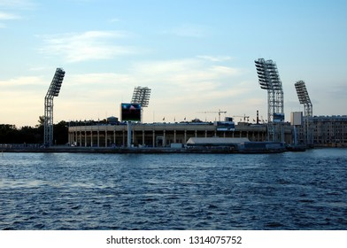 SAINT-PETERSBURG, RUSSIA - JULY 4, 2013: View of the stadium Petrovsky. The Petrovsky Stadium is a sports complex. The Grand Sport Arena is the home of FC Zenit of Saint Petersburg
