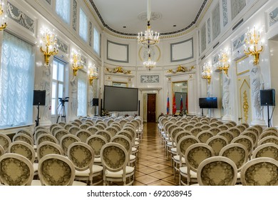 SAINT-PETERSBURG, RUSSIA - JULY 4, 2017: The Great hall with caryatids of the Kamennoostrovsky Palace on Kamenny Island in St. Petersburg, where now houses the Academy of Talents