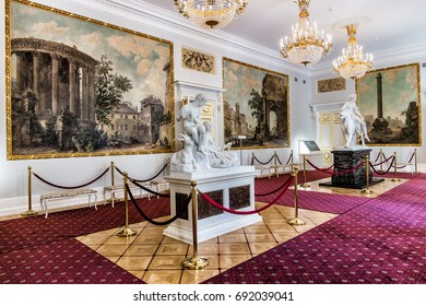 SAINT-PETERSBURG, RUSSIA - JULY 4, 2017: The Anteroom of the Kamennoostrovsky Palace on Kamenny Island in St. Petersburg, where now houses the Academy of Talents