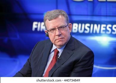 SAINT-PETERSBURG, RUSSIA - JUN 16, 2016: St. Petersburg International Economic Forum SPIEF-2016. Alexei Kudrin - Russian statesman, former Minister Finance of the Russian Federation