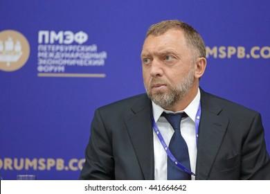 SAINT-PETERSBURG, RUSSIA- JUN 16, 2016: St. Petersburg International Economic Forum SPIEF-2016. Oleg Deripaska - owner of the industrial groups Basic Element company, President of United Company RUSAL