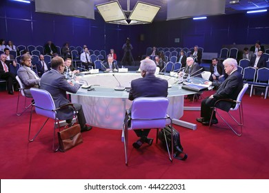"SAINT-PETERSBURG, RUSSIA - JUN 16, 2016: St. Petersburg International Economic Forum SPIEF-2016. Roundtable and TV debate ""Russia and the EU: Not Together But Alongside"""